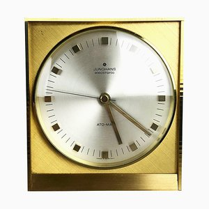 Hollywood Regency Brass Table Clock from Junghans, Germany, 1960s
