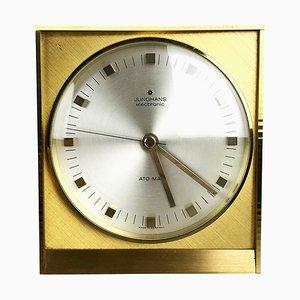 Reloj de mesa Hollywood Regency de latón de Junghans, Germany, años 60