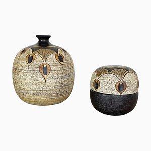 Recipientes modernistas de cerámica de Peter Müller para Sgrafo Modern, Germany, años 70. Juego de 2