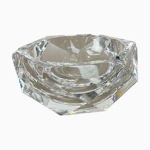 Heavy Crystal Diamond Glass Ashtray from Val Saint Lambert, Belgium, 1970s
