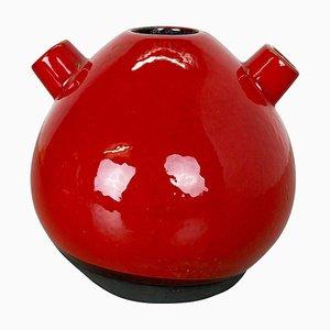 Rote Studio Keramikvase von Marei, 1970er