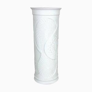 Große deutsche Op Art Biskuitporzellan Vase von AK Kaiser, 1970er