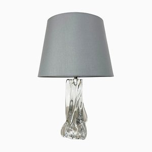 Hollywood Regency Crystal Glass Lucid Table Lamp from Sevres, France, 1960s