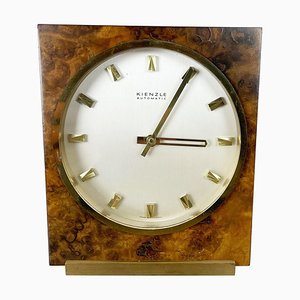 Hollywood Regency Brass & Walnut Table Clock from Kienzle, Germany, 1960s