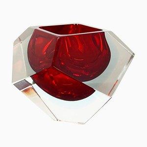Sommerso Murano Glas Diamond Schale oder Aschenbecher von Flavio Poli, Italien, 1970er