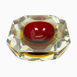 Cuenco o cenicero Sommerso grande de cristal de Murano facetado, años 70
