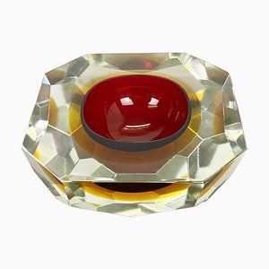 Large Faceted Sommerso Murano Glass Bowl or Ashtray, Italy, 1970s
