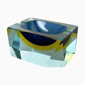 Würfelförmiger Sommerso Murano Glas Aschenbecher von Flavio Poli, Italien, 1970er