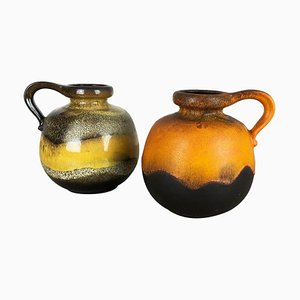Fat Lava Ceramic 484-21 Vases from Scheurich, Germany, 1970s, Set of 2
