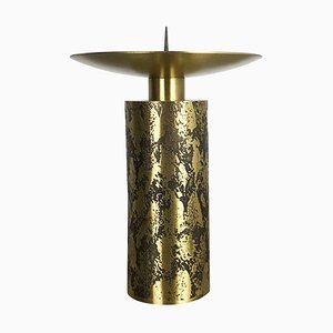 Extra Large Brutalist Sculptural Brass Candleholder, 1970s
