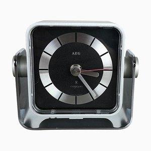 Reloj de mesa Mega Quartz modernista de metal de AEG, Germany, años 80