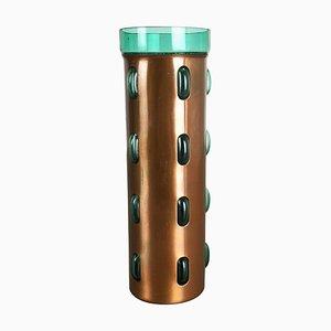 Zylindrische Vase aus Grünem Glas und Kupfer von Nanny Still für Raak, 1970er