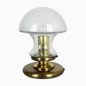 Modernist Glass and Brass Mushroom Table Lamp from Doria, Germany, 1970s