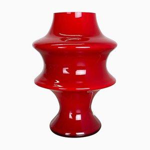 Lampada da tavolo a fungo in vetro rosso di Hustadt Leuchten, Germania, anni '70