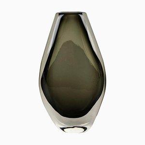 Große Sommerso Vase aus Rauchglas von Nils Landberg für Orrefors, Schweden, 1970er