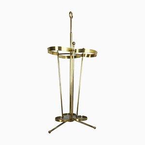 Large Hollywood Regency or Bauhaus Brass Umbrella Stand, 1950s