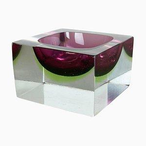 Murano Glass Sommerso Block Ashtray by Flavio Poli, Italy, 1970s