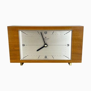 Wooden Teak Table Clock in the style of Max Bill from Junghans Electronic, Germany, 1960s