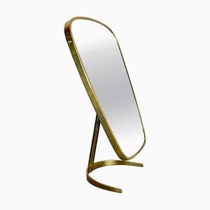 Modern Brass Table Mirror from Vereinigte Werkstätten Munich, Germany, 1950s