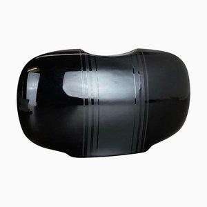 Schwarze Op Art Vase aus schwarzem Porzellan von K. Dombrowski für Hutschenreuther, 1970er