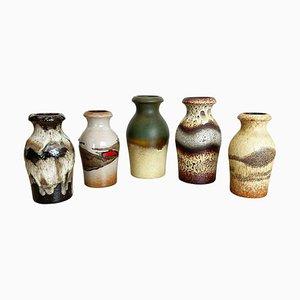 Vasi Fat Lava vintage in ceramica di Scheurich, Germania, anni '70, set di 5