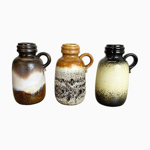 Vasi Fat Lava nr. 413-20 in ceramica di Scheurich, Germania, anni '70, set di 3