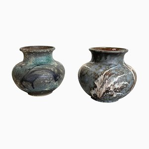Fat Lava Abstract Pottery Vases from Deby Ruscha, Germany, 1960s, Set of 2