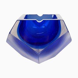 Murano Glass Sommerso Diamond Bowl Ashtray by Flavio Poli, Italy, 1970s