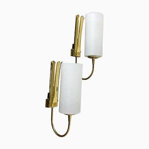 Italienische Messing Wandlampen im Stil von Stilnovo, Italien, 1950er, 2er Set