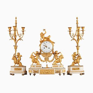 Louis XVI Clock and Candelabras in Ormolu and Marble, Set of 3
