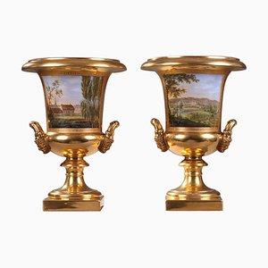 Restaurationszeit Paris Vasen aus Porzellan, 2er Set