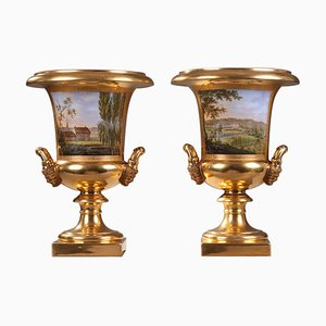 Restoration Period Porcelain of Paris Vases, Set of 2