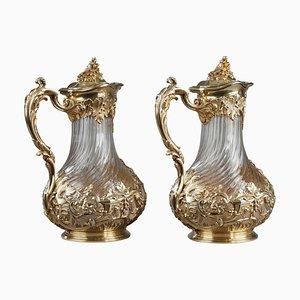 Silber und Kristall Krüge von Tetard, 2er Set
