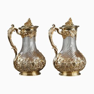 Silver and Crystal Jugs from Tetard, Set of 2