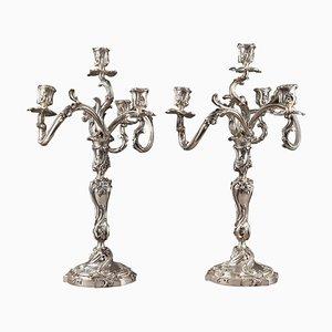 Kerzenständer aus Silber, 19. Jh. Von Boin Taburet, 2er Set