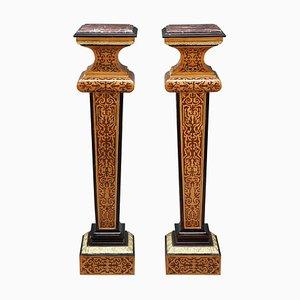 Louis XIV Säulen aus Holz mit Intarsien, 2er Set