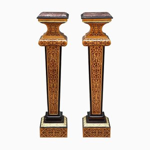 Louis XIV Style Wood Marquetry Columns, Set of 2