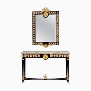 Consola estilo Luis XVI de finales del siglo XIX con espejo. Juego de 2