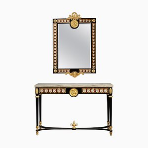 Late 19th Century Louis XVI Style Console Table and Mirror, Set of 2