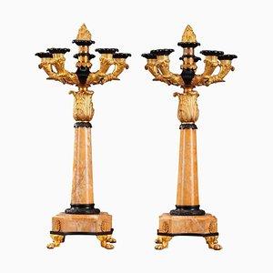 Candelabros Louis Philippe de bronce y mármol Siena, siglo XIX. Juego de 2