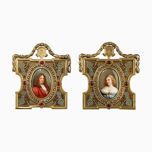 19th Century Porcelain Portraits in Gilded Bronze Frames by A. Giroux, Set of 2