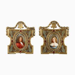 Porträts aus Porzellan mit Rahmen aus vergoldeter Bronze, 19. Jh. Von A. Giroux, 2er Set
