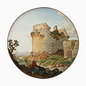 Micromosaïque Ronde Représentant le Mausolée de Cecilia Metella sur la Voie Appienne, Début du 19ème Siècle