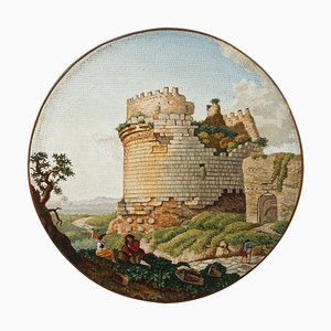Round Micromosaic Depicting Mausoleum of Cecilia Metella on the Appian Way, Early 19th Century