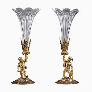 Late 19th Century Vases Depicting Farmer and Fisherman, Set of 2