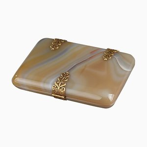 Agate Cigarette or Card Case with Golden Elements