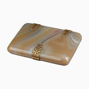 Portasigarette o portacarte in agata con elementi dorati