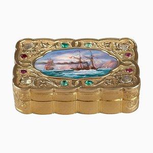 Swiss Export Emaillierte Gold Schnupftabakdose, 1820er