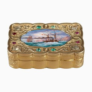 Swiss Export Enamelled Gold Snuff-Box, 1820s