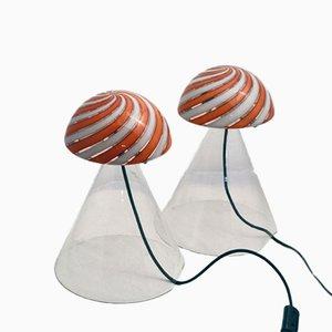 Tischlampen aus Mundgeblasenem Glas von Mazzega-Murano, 1970er, 2er Set